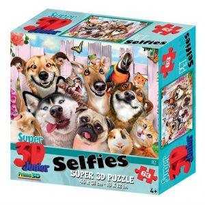 Prime 3D puzzel Selfie huisdieren (63 stuks) (1)