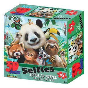 Prime 3D puzzel Selfie zoo (63 stuks) (1)