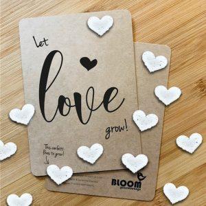 bloeiconfettikaart let love grow