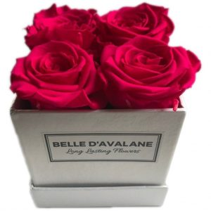 Gestabiliseerde rozen vierkant doosje roze 10 cm