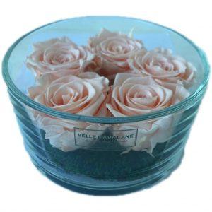 Gestabiliseerde rozen in cilinderglas 15 x 8cm porcelain pink