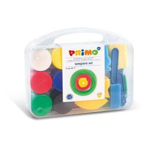 Primo koffer met 6 kleuren plakkaatverf én sponsjes