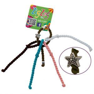 ZigZag elastiekje mini voor dunne haren kakigroen met sterretje wit lichtzalm turquoise donkerbruin