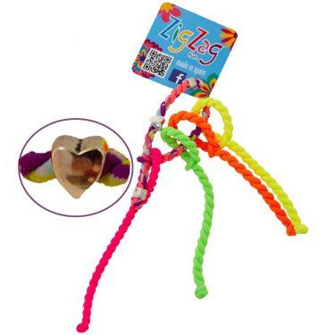 ZigZag elastiekjes mini voor dunne haren multikleur met hartje fluorioze fluogroen fluogeel fluo-oranje