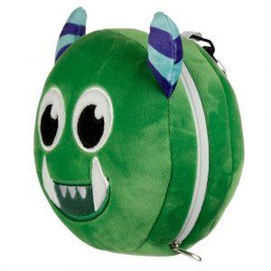 relaxeazzz pluche monster groen rond reiskussen zijkant