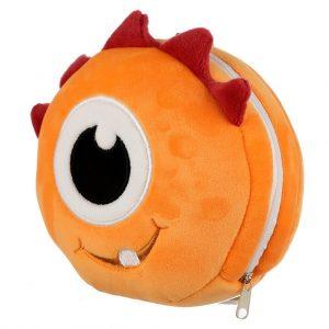 relaxeazzz pluche monster oranje rond reiskussen zijkant