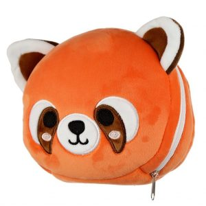 relaxeazzz pluche panda rood rond reiskussen zijkant