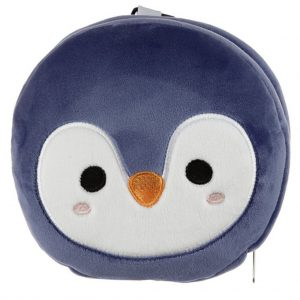 relaxeazzz pluche pinguin rond reiskussen voorkant
