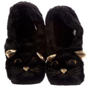 Heatpack slippers kat zwart
